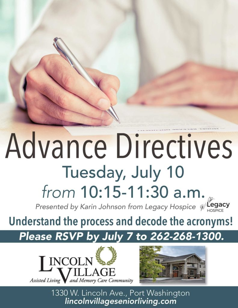 Lincoln Village Senior Living Advance Directives Presentation by Legacy Hospice